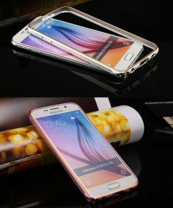 Ốp viền Galaxy S6 Edge bo tròn chỉ vàng