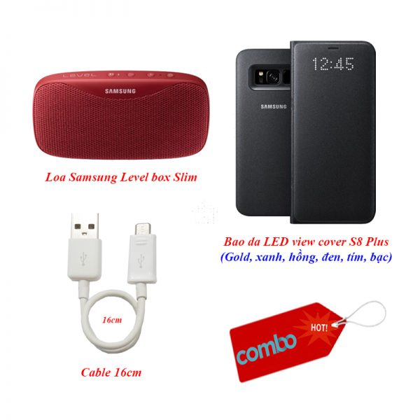 Combo bao da ledview, loa Slimbox, Cable USB 2.0 Galaxy S8/S8 Plus