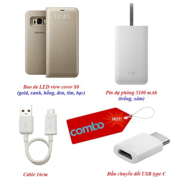 Combo Bao da, Pin dự phòng, cáp sạc, đầu chuyển đổi USB cho S8/S8 plus